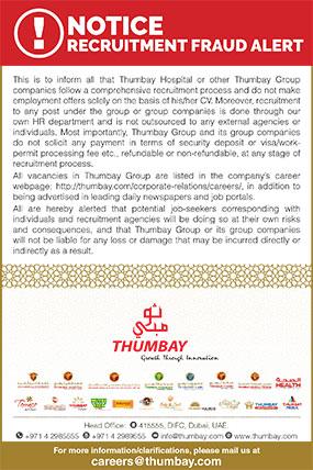 Careers Job Openings Thumbay Group United Arab Emirates