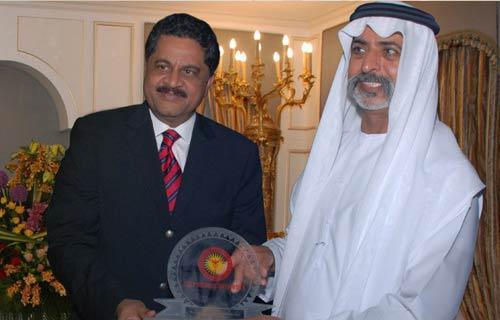 Dr.Thumbay Moideen being felicitated by Sheikh Nahyan bin Mubarak Al Nahyan, Ministry of Culture, Youth, and Social Development, UAE.