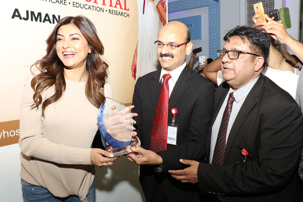 Miss Universe Sushmitha Sen Meets & Greets Patients at Thumbay Hospital Ajman
