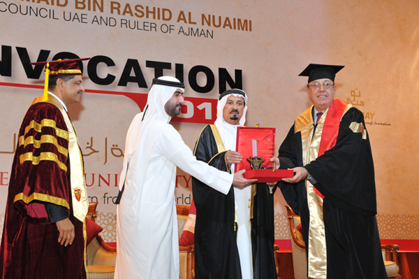 HIS HIGHNESS SHEIKH HUMAID BIN RASHID AL NUAIMI CONFERS DEGREES ON 92 GULF MEDICAL UNIVERSITY GRADUATES