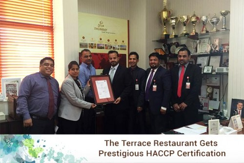 The Terrace Restaurant' Gets Prestigious HACCP Certification
