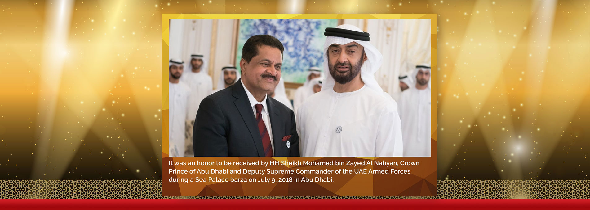 HH Sheikh Mohamed bin Zayed Al Nahyan receives Dr. Thumbay Moideen